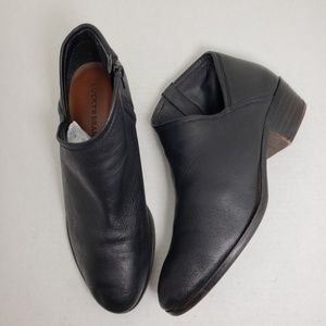 Lucky Brand Black Ankle Zip Leather Booties Sz 9M